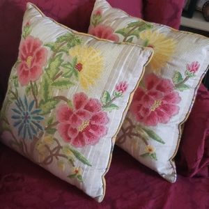 Pier 1 set of 2 Floral embroidered accent pillows